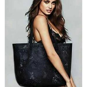 VS Victoria's Secret Large Black Lace Tote